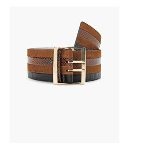 WHBM Wide Leather and Suede Belt SZ MED